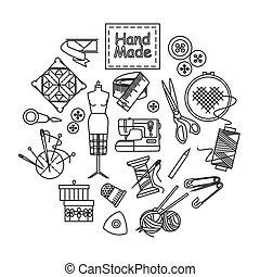 iconen, met de hand gemaakt, set., schets, naaiwerk