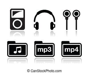 iconen, mp3 speler, set, vector