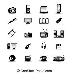 iconen, multimedia, eenvoudig