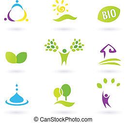 iconen, nature., leven, mensen, boerderij, vector, geïnspireerde, illustration., bio