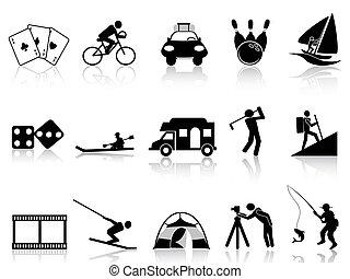 iconen, ontspanning, set, vrije tijd