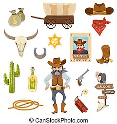 iconen, set, cowboy