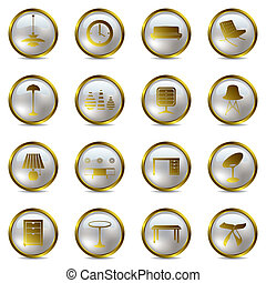 iconen, set, goud, interieur