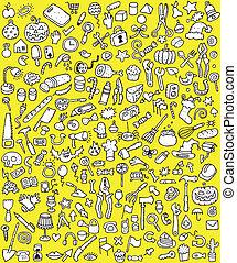 iconen, set, groot, doodle