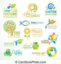 iconen, set, vector, natuur