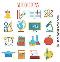 iconen, stijl, education., set, plat