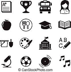 iconen, symbool, kleuterschool, illustratie, vector, school, opleiding