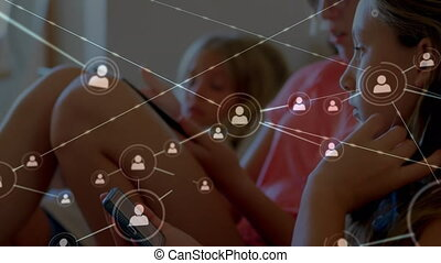 iconen, verbinding, digitaal tablet, web, tegen, meisje, gebruik, smartphone