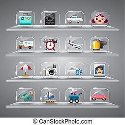 iconen, verzameling, reizen, transparant, schattig, glas, knoop