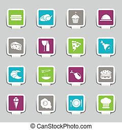 iconen, voedingsmiddelen, -, 1, deel, stickers