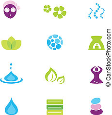 iconen, vrijstaand, vector, spa, natuur, wellness, witte