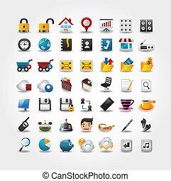iconen, web internet, set, website, &, iconen