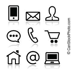 iconen, web, set, contact, vector