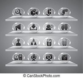 iconen, web, speach, knopen, glas