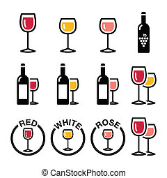 iconen, witte , wijntje, -, types, roos, rood