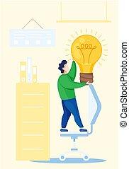 idee, back, opleiding, nieuw, licht, vasthouden, concept, over, man, icons., school, gloeiend, bulb.