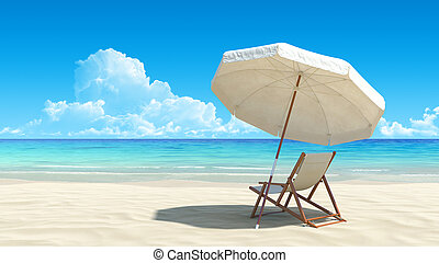 idyllisch, paraplu, tropische , zand, stoel, strand