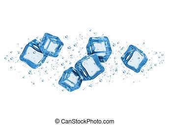 ijs kubeert, achtergrond, water, witte , vrijstaand