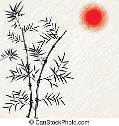illust, bamboe, vector, japanner, aziaat