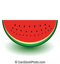 illust, vector, watermeloen, stuk