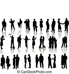 illustr, mensen, vector, silhouettes.