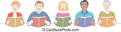illustratie, boekjes , ouwetjes, lezende
