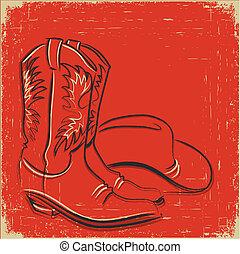 illustratie, cowboylaarzen, westelijk, .sketch, hoedje, rood