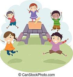 illustratie, geitjes, stickman, picknicklijst, sprong
