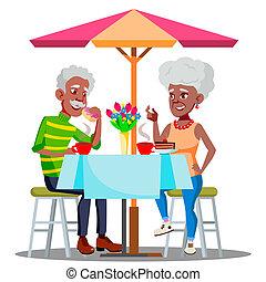 illustratie, koffie, paar, vrijstaand, bejaarden, samen, vector., tafel, drinkt, koffiehuis, vrolijke