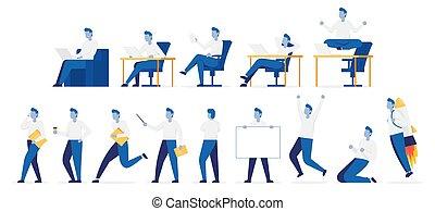 illustratie, maniertjes, vector, emotions., set, kleur, zakenman, anders