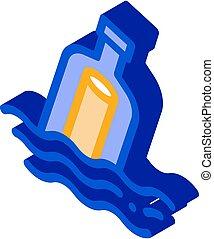 illustratie, pictogram, vector, isometric, boodschap, fles