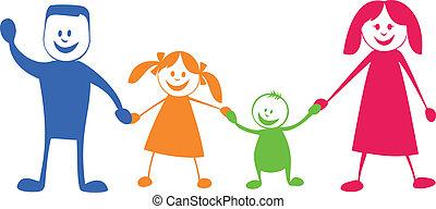 illustratie, spotprent, family., vrolijke