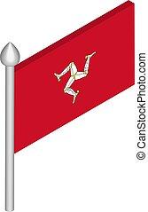 illustratie, vlag, isometric, flagpole, vector, eiland, man