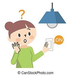 illustratie, witte , zonder, elektriciteit, vrouw, achtergrond, onrust