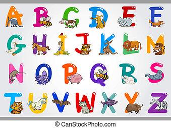 illustraties, alfabet, dieren, spotprent
