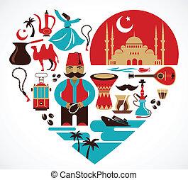 illustraties, hart, set, turkey-, vector
