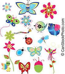 illustraties, lente, set, kleurrijke