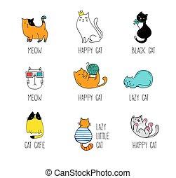 illustraties, vector, doodles, verzameling, kat