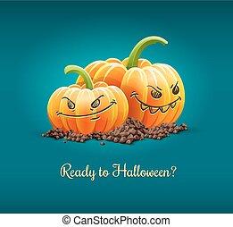illustration., boos, halloween, vector, pompoennen, vakantie