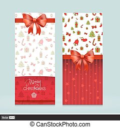 illustration., groet, bows., creatief, holiday., vector, uitnodigingskaarten, kerstmis, rood