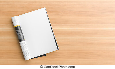 illustration., houten, op, kups., pagina, catalogus, realistisch, magazine, leeg, moc, tafel., of, spotten, 3d