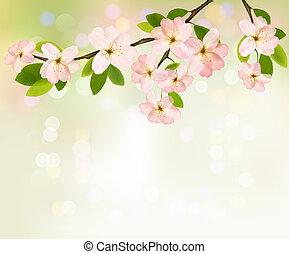 illustration., lente, bloeien, boompje, flowers., vector, achtergrond, brunch