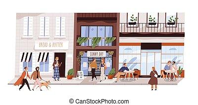 illustration., moderne, mensen, isolated., man, vitrine, buiten, straat, paar, gebouwen, shoppen , vrienden, wandelende, koffiehuis, vector, stedelijke , winkel, vrolijke , kleine, coffeshop, zittende , vrouw, plat, genieten