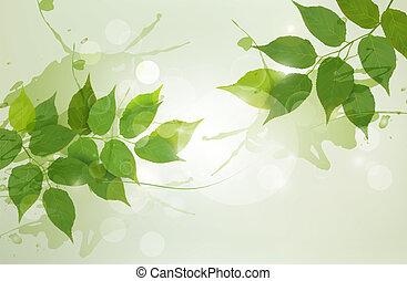 illustration., natuur, lente, leaves., vector, groene achtergrond