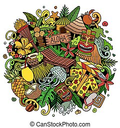 illustration., spotprent, hawaii, getrokken, doodle, hand