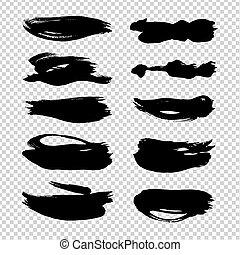 imitatie, slagen, abstract, borstel, vrijstaand, textured, transparant, achtergrond, black