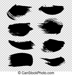 imitatie, slagen, borstel, vrijstaand, textured, transparant, achtergrond, black
