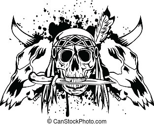 indiër, schedels, schedel, stier