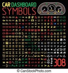 indicatoren, auto, paneel, vector, verzameling, dashboard, lichten, waarschuwend