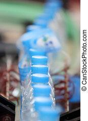 industrie, drinken water, fabriekshal, fles, lijn